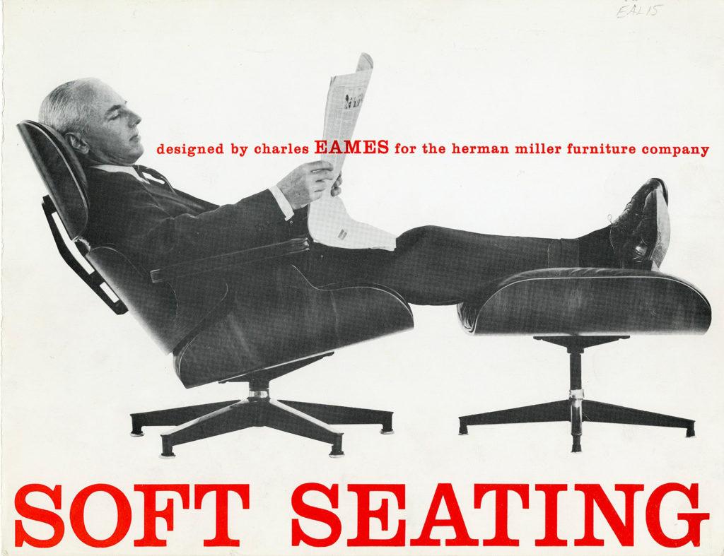 publicité Herman Miller de l'époque mettant en avant la lounge chair de Eames