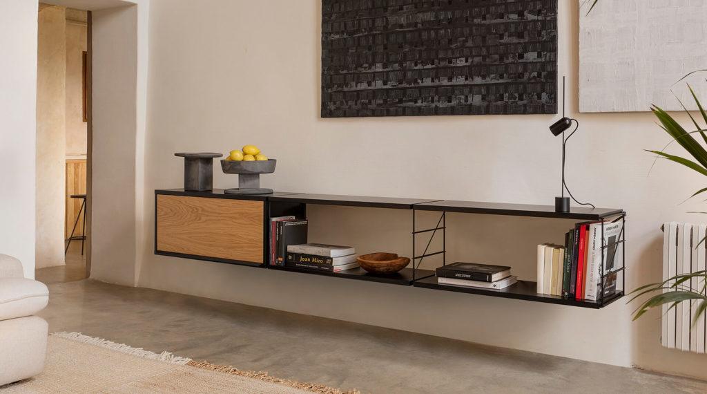 Etagère murale bois et métal noir Tria Massana par Mobles 114