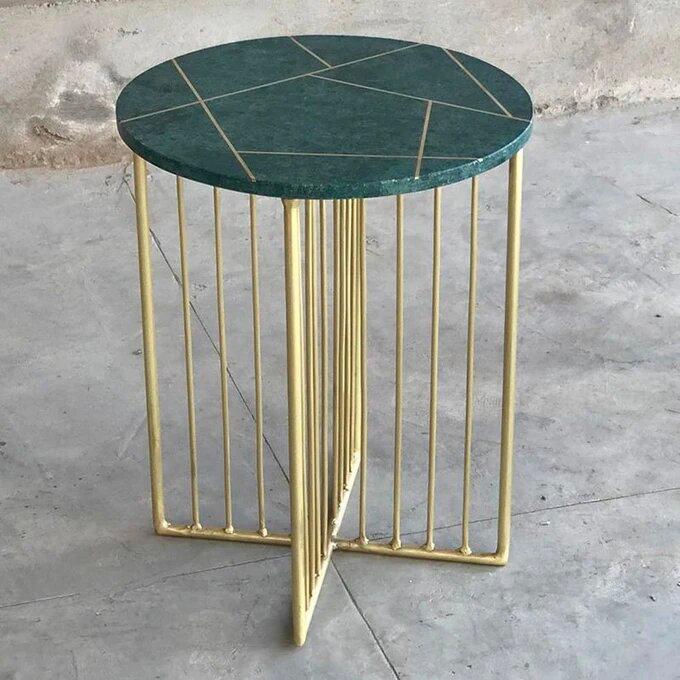 Bout-de-canapé-design-marbre-vert-laiton-TORANO