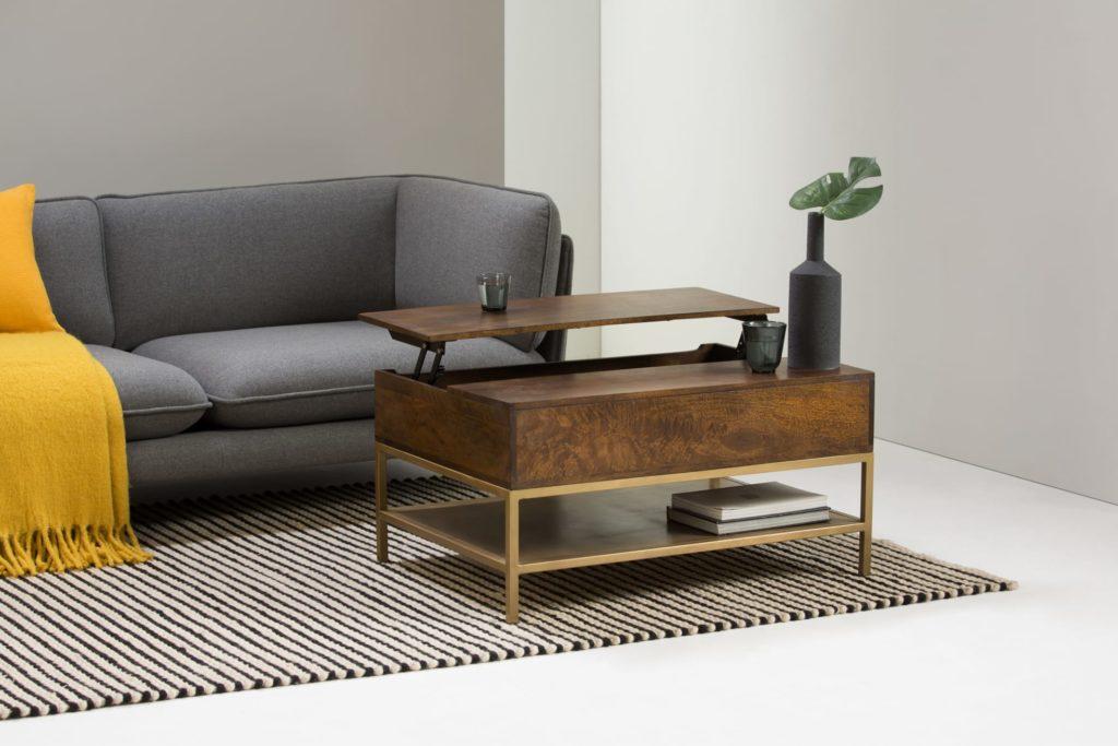 Lomond, table basse avec plateau relevable, bois de manguier et laiton