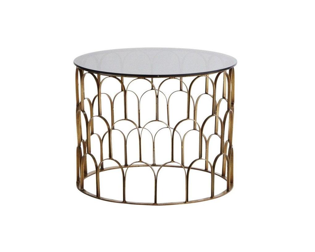 MADAM-STOLTZ-Table-basse-ronde-métal-art-déco-verre