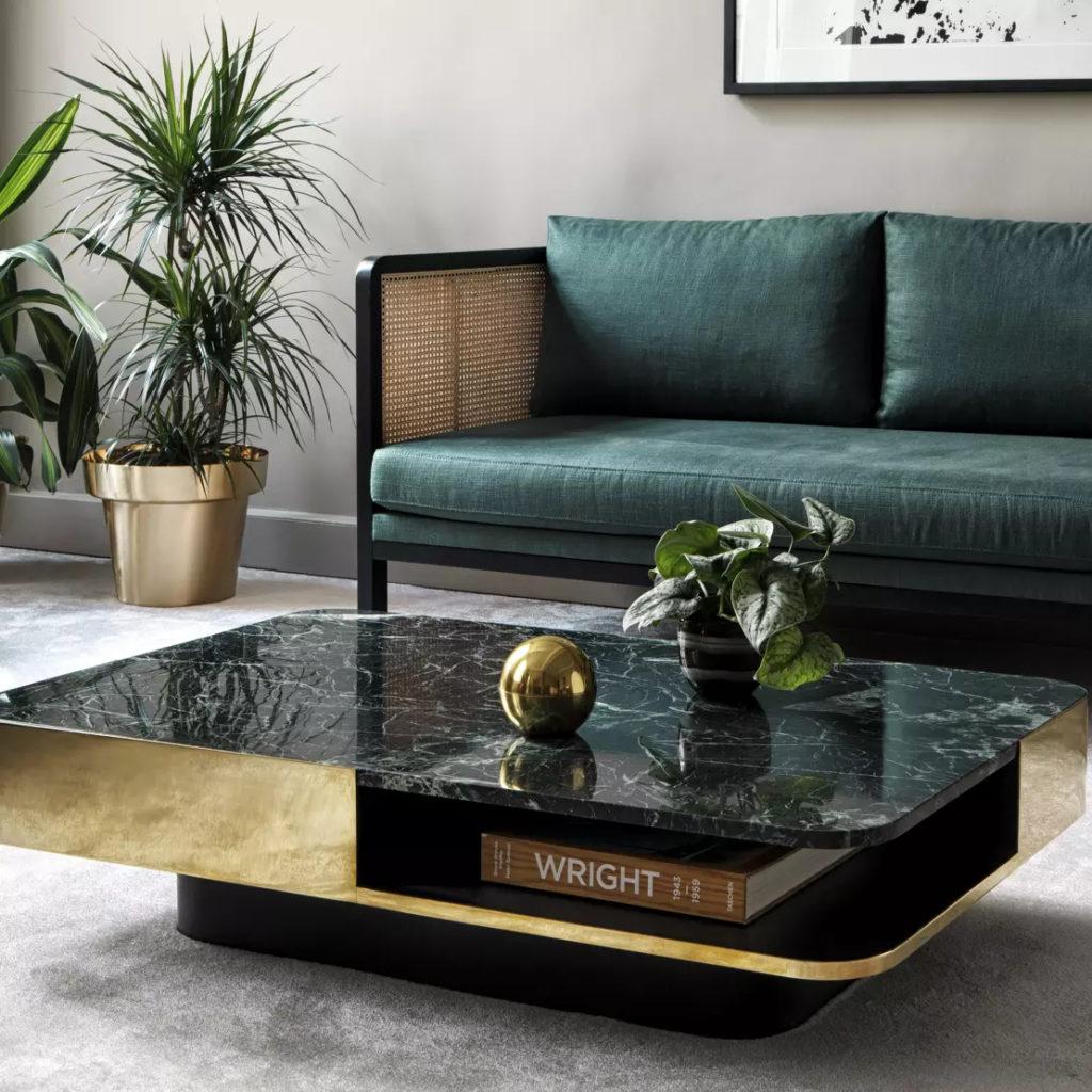 Table basse Red Edition en laiton et marbre vert lounge