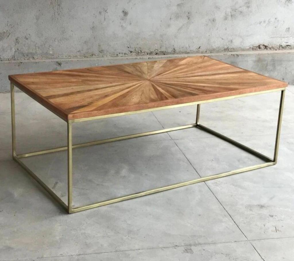 Table-basse-en-bois-recyclé-rectangulaire-structure-laiton